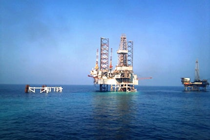Five new platforms are being built at the oil field, including one production platform (P4)