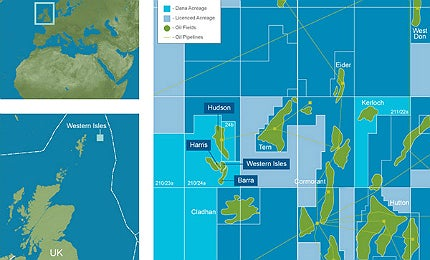 The oil fields are situated in a water depth of 165m