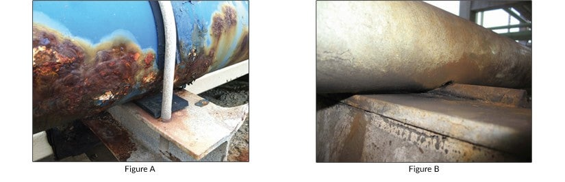 In Figure A, the corrosion barrier of a coated pipe is compromised over time due to operating variables such as movement. In Figure B, corrosion has begun at the point where pipe intersects support steel.