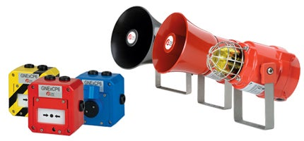 Explosion-proof audible and visual signals and call points