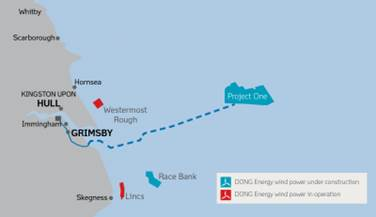 The 1.2 GW Hornsea Project One wind farm will take up an area roughly as large as that of Cologne and will produce approximately enough energy to power well over one million homes.
