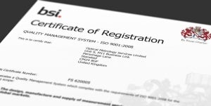BSI ISO 9001:2008 certification