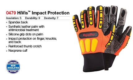 High-visibility impact-protection gloves
