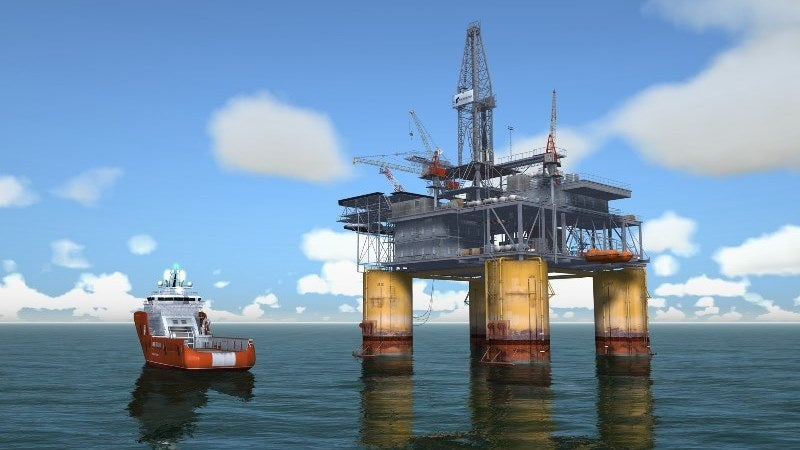 offshore platform and boat