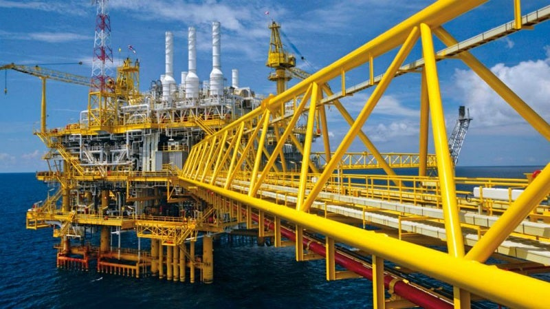 yellow offshore platform