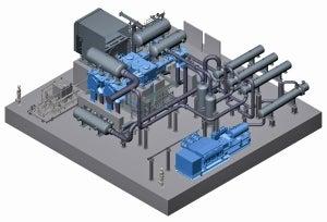 Plant layout for compressing CO2: 3-stage Process Gas Compressor API 618 with LEWA triplex diaphragm pump