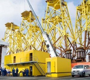 ELA container in use on the ABC peninsula offshore terminal in Bremerhaven.